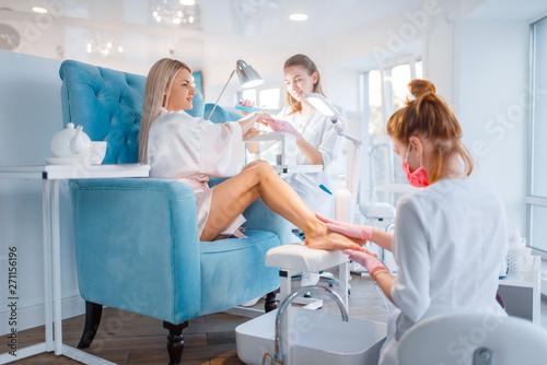 Beautician salon, manicure and pedicure procedure