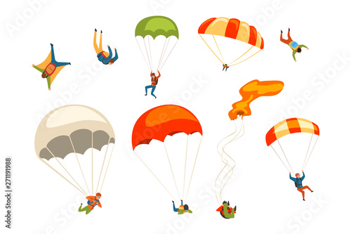 Fotografie, Obraz Skydivers flying with parachutes set, extreme parachuting sport and skydiving co