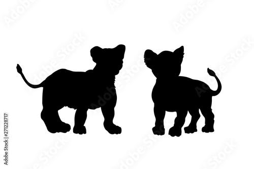 Obraz na płótnie Black silhouette of young lions on white background