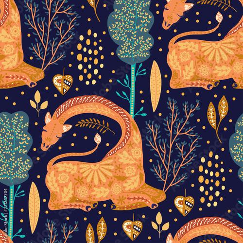Wallpaper Mural Cartoon giraffe vector illustration.