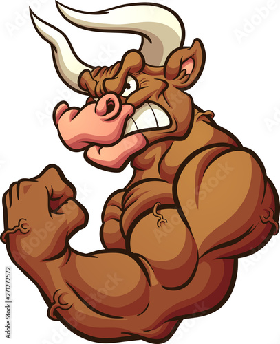 Strong brown bull mascot flexing arm clip art. Vector illustration with simple gradients. All in a single layer.