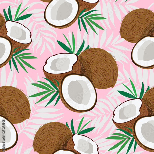 Obraz na płótnie Seamless pattern whole coconut and piece with palm leaves on pink background, Ve