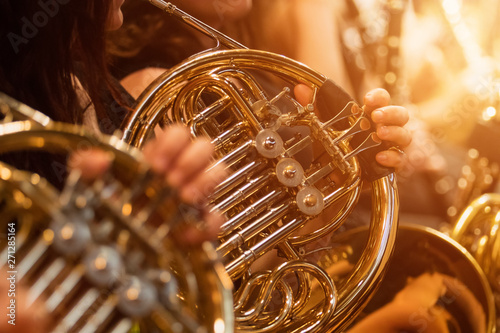 Canvas Print french horn during a classical concert music, close-up.