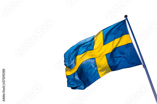 Wallpaper Mural Swedish flag isolated on a white background