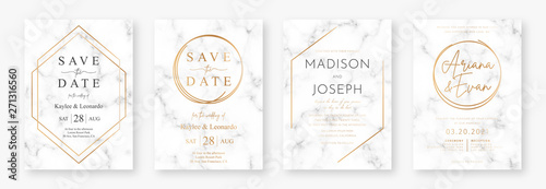 Fototapeta Wedding card design with golden frames and marble texture