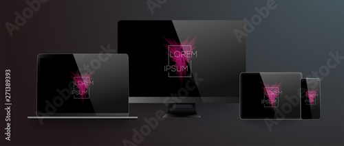 Wall mural Realistic silver  white laptop,smartphone, tablet with black screen and shadow. Can use for project, presentation. Blank device mock up. Vector illustration