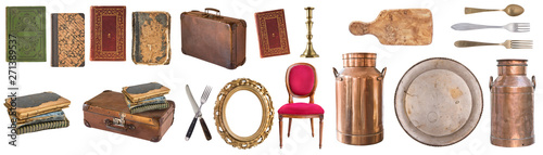 Obraz na plátně Set of beautiful antique items, picture frames, furniture, silverware