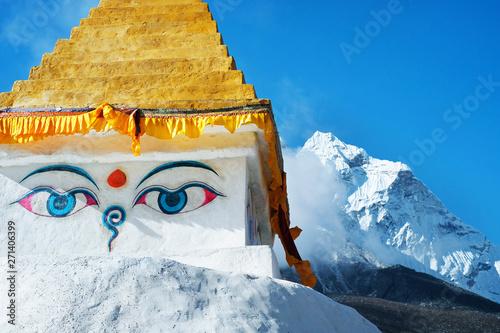 Wallpaper Mural Stupa near Dingboche village with prayer flags and mounts Kangtega and Thamserku