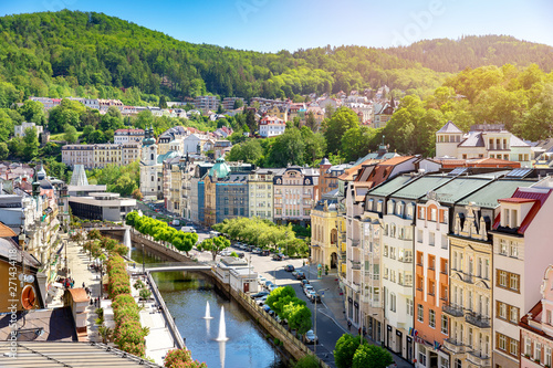 Fotografie, Obraz aerial view to karlovy vary city czech republic