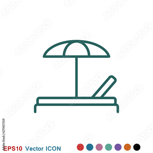 Fotografija Chaise lounge icon logo, illustration, vector sign symbol for design