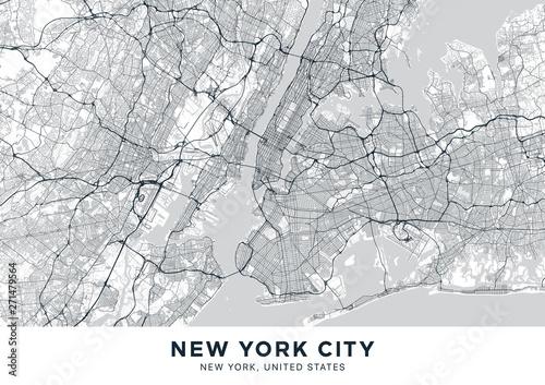Wallpaper Mural New York City (NYC, NY) map