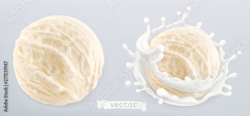 Wall mural Ball of ice cream and splash of milk. 3d realistic vector