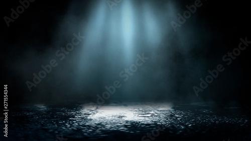 Fotografia Empty street scene background with abstract spotlights light