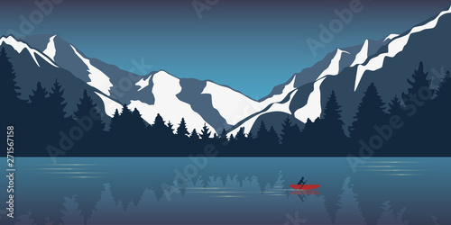 Fotografija lonely canoeing adventure in the snowy mountains lake in the wilderness vector i