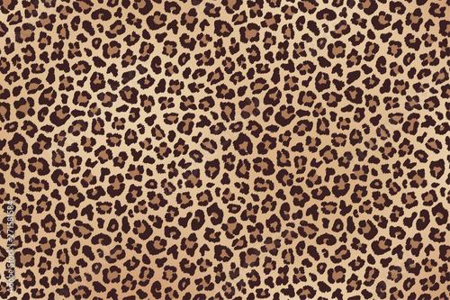 Stampa su Tela Leopard spotted beige brown fur texture. Vector