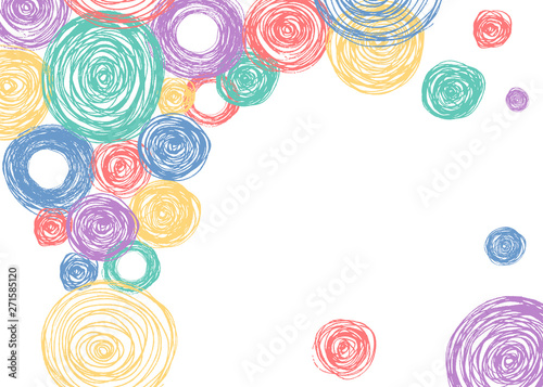 Colorful Scandinavian pencil scribbles frame with pastel color circles. Vector isolated background for kid invitation card.