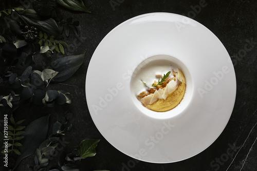 Canvastavla Homemade Italian Cream Polenta, Boiled Cornmeal or Porridge with Porcini Mushroo