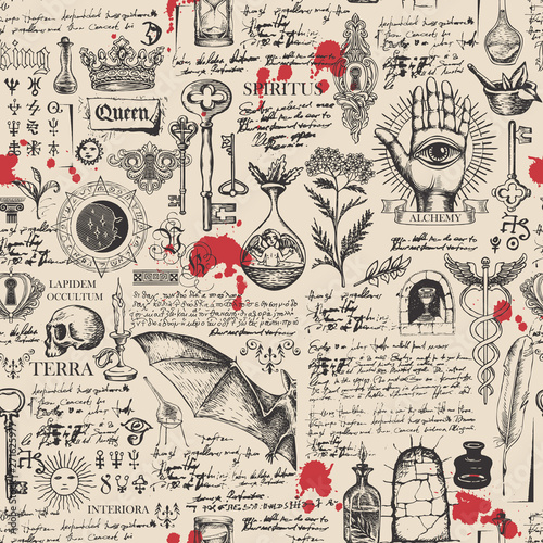 Obraz na plátně Vector seamless background on the theme of alchemy, magic, witchcraft and mysticism with various esoteric and occult symbols, sketches, blots