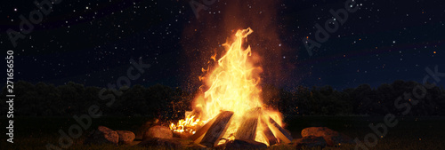 Foto 3d rendering of large bonfire with sparks and particles in front of forest and s