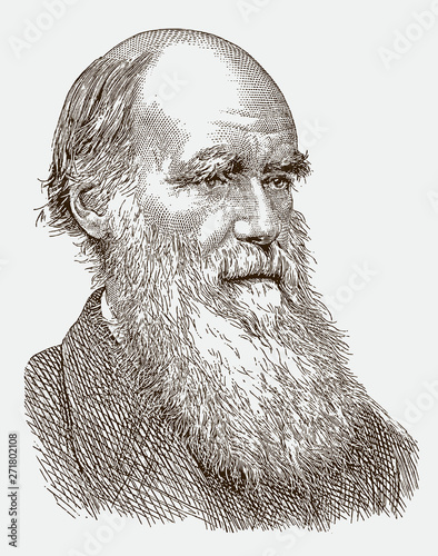 Historical portrait of Charles Darwin the famous scientist with a long beard Fototapet