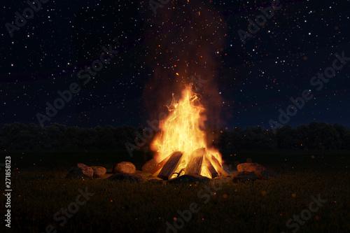 Lagerfeuer mit Steinen umringt vor Sternenhimmel  bei Nacht Fototapete
