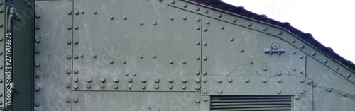 Canvas-taulu Abstract green industrial metal textured background with rivets and bolts