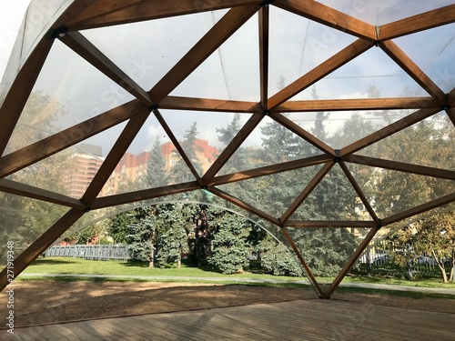 Wooden modular building in the form of a dome Fototapete