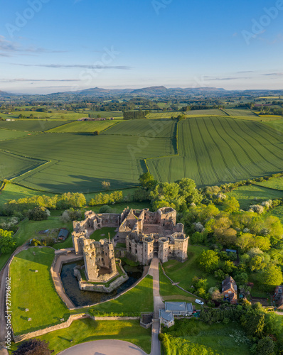 Aerial panoramic view of the ruins of Raglan castle, a late medieval castle loca Fototapeta