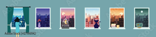 City landscape window view set at various times of the day flat vector illustration.