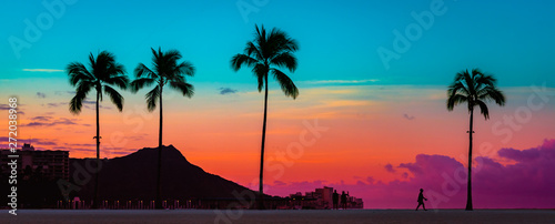 Canvas Print Tropical Paradie Art Sunrise in Waikiki Hawaii