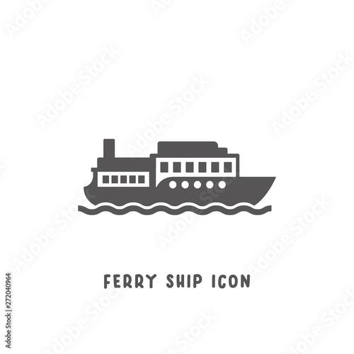 Valokuvatapetti Ferry ship icon simple flat style vector illustration.