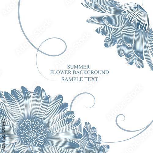 Obraz na plátne Summer background and frame with gerbera flowers.