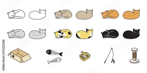 Canvas Print cat vector kitten calico icon logo sleeping toy food box symbol cartoon characte