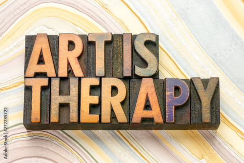 Leinwand Poster art is therapy word abstract in wood type