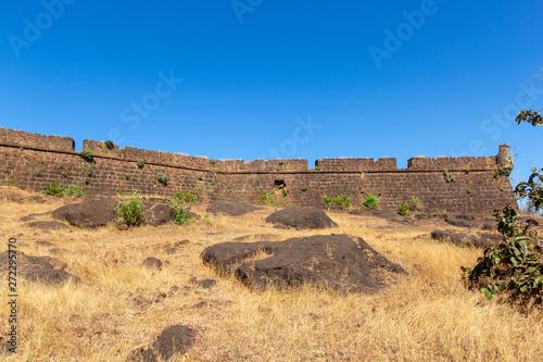 brick wall of old fort chapora goa Fototapeta