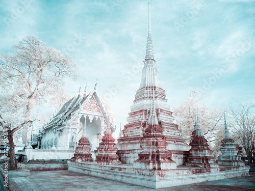 Canvas Print Near infrared landscape old stupa in temple in Thailand