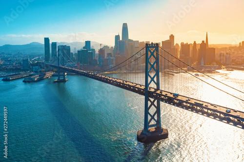 Fototapeta Aerial view of the Bay Bridge in San Francisco, CA