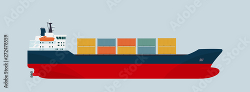 Canvas Print Cargo ship container isolated. Vector flat style illustration.