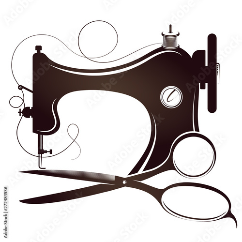 Fototapeta Sewing machine and scissors silhouette for sewing