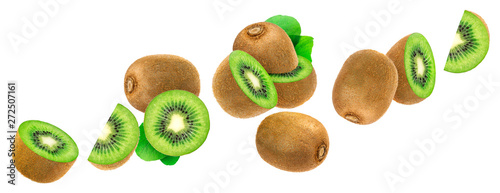 Fotografia Kiwi isolated on white background with clipping path