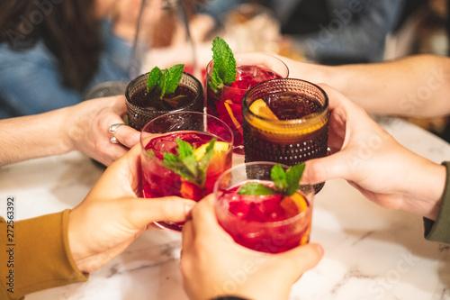 Friends toasting with sangria Fototapeta