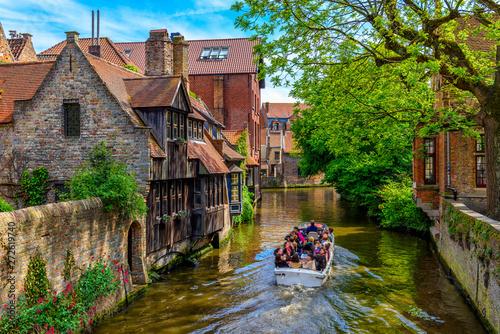 Classic view of the historic city center of Bruges (Brugge), West Flanders province, Belgium Tapéta, Fotótapéta