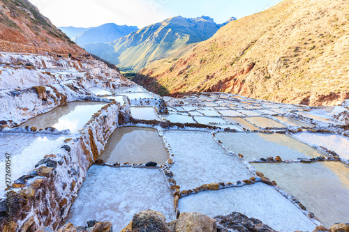 Photo Maras Salt Pans in Peru's Sacred Valley Where Local People Have Mined Salt Since