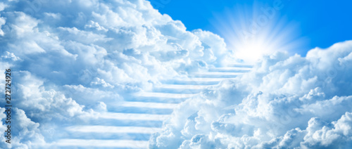 Foto Stairway Curving Through Clouds Into The Light Of Heaven With Blue Sky