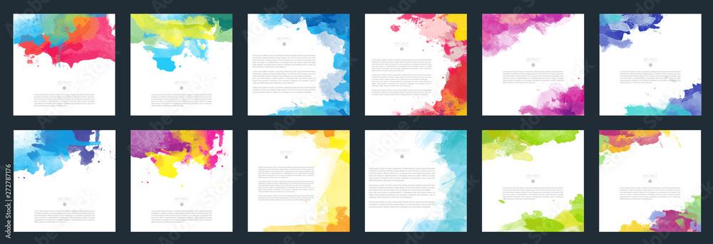 Duży zestaw kolorowe tło akwarela kolorowe tło dla plakatu, broszury lub ulotki <span>plik: #272787176 | autor: Eva Kali</span>