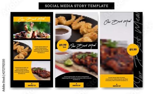Obraz na płótnie Social media Instagram story design template set for food restaurant bistro prom