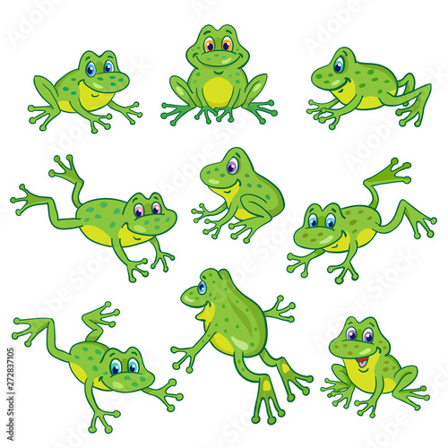 Fotografie, Tablou Set of nine funny frogs in various poses