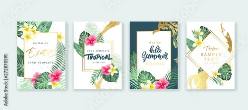 Summer card design. Save the date. Exotic tropic palm leaves and flowers. Invitation, poster, cover template. Geometric and floral frame.