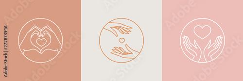Cuadros en Lienzo Vector abstract logo design template in trendy linear minimal style - hands maki
