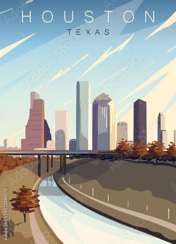 Obraz na plátne Houston modern vector poster
